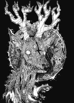 Devil Deer (my art for public group VK - Art of Depression) 2014 #creature #sketch #sketchbook #art #artist #acid68 #russianart #drawing #graphic #strange #original #monster #fear #magic #pain #mind #crazy #illustration #dark #darkart #depression #eyes #deer #death #devil #evil