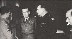 Parachutistes Français Libres du Spécial Air Service (S.A.S.) De g. à dr:cdt de Bollardiere,cdt Puech-Samson,lt col,Bourgoin et cdt Conan
