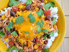 taco chicken bowls...in a crockpot!