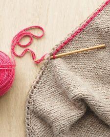 Crochet slip stitch through a YO edging for a gorgeous, two color edge!