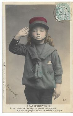 Cute Little Girl With Military Cap Saluting, Vintage Girl Photo, Blond Girl, Tinted French postcard, Antique real photo postcard RPPC by maralecollectibles on Etsy Photo Postcards, Vintage Postcards, Vintage Photographs, Vintage Photos, Military Cap, Vintage Scrapbook, Cute Little Girls, Very Lovely, Vintage Girls