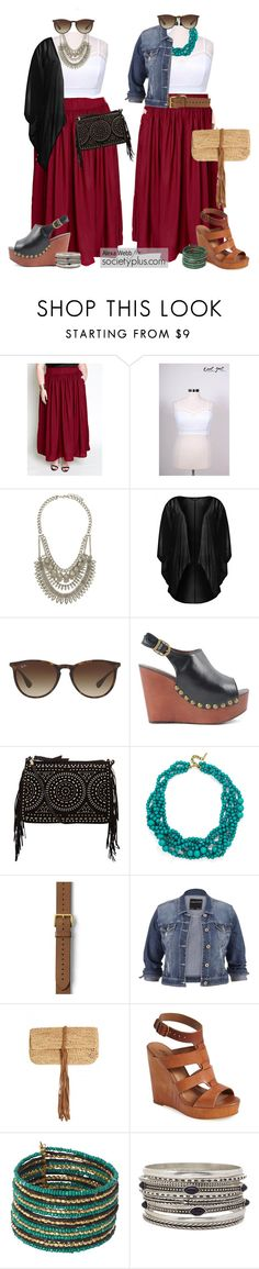 """Plus Size Skirt 2 Ways - Alexa Webb for Society+"" by iamsocietyplus on Polyvore featuring Forever 21, Ray-Ban, Jeffrey Campbell, maurices, Flora Bella, Lucky Brand, women's clothing, women, female and woman"
