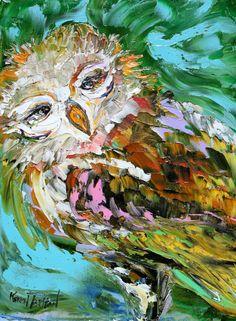 Original oil OWL PALETTE KNiFE painting by Karensfineart on Etsy