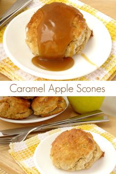 Caramel Apple Scones #Recipe - light and buttery apple scones drizzled with homemade caramel sauce. Perfect for breakfast, brunch, a snack or dessert - any excuse to eat one! | www.pinkrecipebox.com