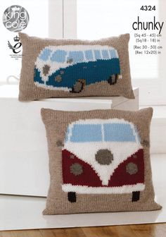 Camper Van Picture Cushions in King Cole Chunky with Free Pattern Chunky Knitting Patterns, Knitting Yarn, Knit Patterns, Hand Knitting, Knitted Cushions, Knit Pillow, Crochet Motifs, King Cole, Ideas