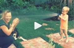 Hilary Duff's Son Blasts Her With the Hose (WATCH)