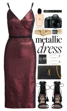 """metallic"" by ellac9914 ❤ liked on Polyvore featuring Cinq à Sept, Zimmermann, Gucci, Yves Saint Laurent, Bebe, NARS Cosmetics, Nikon, Giorgio Armani, dress and metallic"