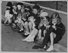 Little girls knitting in 1939. I learned to knit when I was 4 (though Not in 1939!) so I just love this picture.