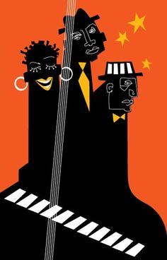 Illustration & design for the poster of a big jazz event at the Megaron Athens Concert Hall. Jazz Art, Jazz Music, Pop Music, Luba Lukova, Pochette Cd, Musik Illustration, Jazz Poster, Saul Bass, Music Artwork