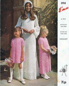 #Wedding #Dress Crochet Pattern and #Bridesmaid Dress #Crochet Pattern Vintage 1970s PDF (T224). 3.20, via Etsy.