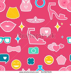 Female interests are symbols. Seamless pattern background. Colored Vector illustration.https://www.shutterstock.com/g/ORLOVA+YULIA?rid=3577073&utm_medium=email&utm_source=ctrbreferral-link