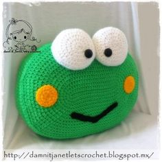 Keroppi the Frog Pillow pattern by Janet Carrillo Crochet Pillow Pattern, Crochet Cushions, Crochet Stitches, Crochet Patterns, Crochet Frog, Crochet Baby, Crochet Home, Crochet For Kids, Frog Crafts