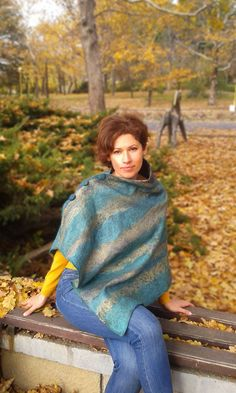 Сape, silk, woolen cape, poncho, stole, shawl, clothing, for women, women's clothing, felting, gift by Feltforsoul on Etsy