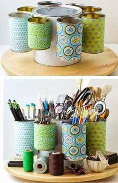 upcycle tin cans to make craft room storage--love the lazy susan idea for storing mom's sewing stuff while she's working