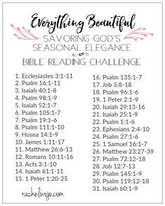 He has made everything beautiful in its time. Ecclesiastes Welcome to the Everything Beautiful Bible reading plan & journal challenge! Bible Study Plans, Bible Study Notebook, Bible Plan, Bible Study Journal, Prayer Journals, Bible Verse List, Prayer Scriptures, Bible Prayers, Scripture Reading