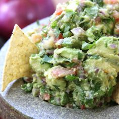 TOP POST- Simple Healthy Guacamole PRO TIPS- If the avocados are extra large you will only need 4-5. Best way to tell if an avocado is rip is by the bright green color of the flesh when removing the stem. If it is a dull green, the avocado is over ripe. We love garlic so I always use 3 large cloves but you will need to adjust according to taste preferences. I also use about 1- 1/2 tsp sea salt or pink himalayan salt and about 1/4 tsp black pepper. For kid-friendly version remove jalapeño…