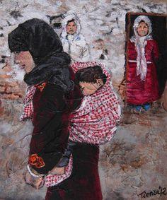 Pintura Duerme, realizado con acrílico sobre tabla y varias texturas tras un estudio de Marruecos y sus gentes.