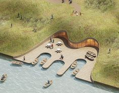 fishermens wharf pavilion by MADAM architecture will occupy a lakeside dune in china Urban Landscape, Landscape Design, Small Fishing Boats, In China, Swan Lake, Urban Planning, Urban Design, Dune, Sustainable Architecture
