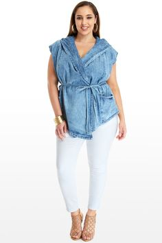 Plus Size Lexi Hooded Denim Wrap Jacket | Fashion To Figure