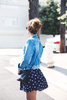 Polka dots short skirt with blue denim jacket. Summer fashion style to copy now. Moda Fashion, Womens Fashion, Fashion Trends, Latest Fashion, Fashion Ideas, Denim Fashion, Fashion Fashion, Runway Fashion, Mode Lookbook