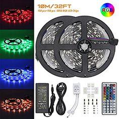 LED Ruban Bande, Jirvyuk Ruban LED Multicolores 5050 RGB SMD Flexible Lumineux Kit de Ruban à LED- 32.8ft (10M) 300 LEDs + Adapteur + Alimentation + Télécommande à Infrarouge 44 Touches