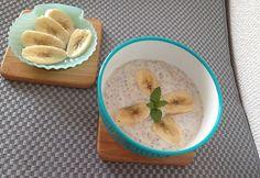 Banános-vaníliás chia magos joghurt Baby Food Recipes, Hummus, Panna Cotta, Oatmeal, Protein, Favorite Recipes, Cooking, Breakfast, Ethnic Recipes