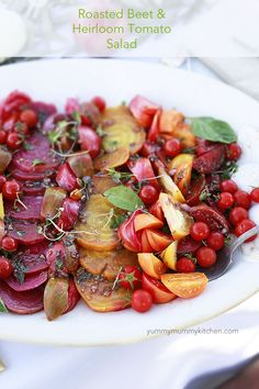 Roasted Beet and Heirloom Tomato Salad. This salad is so stunning and tasty. If you don't have the tomatoes available, just do rainbow beets.