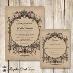 Goth Wedding Invitation, Halloween Wedding Invitations, Printable Vintage Wedding Invite, Vintage Blush Roses Wedding Invitation
