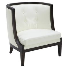 Pairing a sleek curved-back silhouette with ivory bonded leather upholstery, this tufted accent chair is a stylish addition to the head of your dining table ...