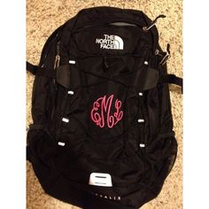 Monogrammed north face backpack M O N O G R A M ❤ liked on Polyvore featuring bags, backpacks, school, the north face daypacks, monogrammed backpacks, the north face bag, the north face and knapsack bag