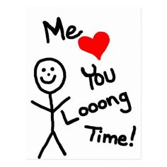 Me Loves You Stick Person Cartoon Postcard - click/tap to personalize and buy