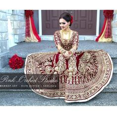 """Our beautiful bridal client Raman's wedding look. We love the deep maroon shade of her velvet bridal lengha which is by is Her look was…"" Indian Bridal Fashion, Indian Bridal Wear, Asian Bridal, Indian Wedding Outfits, Bridal Outfits, Indian Weddings, Indian Wear, Pakistani Bridal Dresses, Bridal Lehenga"