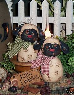 Primitive Spring Lamb Sheep Doll Ornies