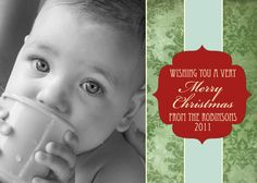 "Christmas Photo Card Template, ""Very Merry"" Collection, Damask, 2 5x7 PSD Files, DIY and for Photographers : Holiday"