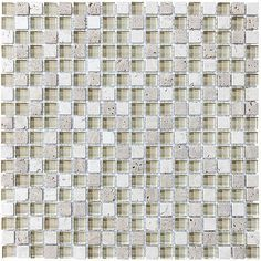 Bliss Creme Brulee Stone and Glass Square Mosaic Tiles | Rocky Point Tile - Online Glass Tile and Glass Mosaic Tile Store