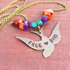 FREE BIRD - Hand stamped BIRD necklace - Amethyst Turquoise and Amethyst - Brass necklace - RUSTiC (26.00 USD) by WingostarrJewelry