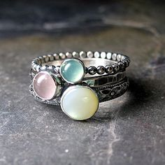 Spun Sugar - stacking rings with Chrysoprase, Rose Quartz and Mother of Pearl    ...from LavenderCottage on Etsy