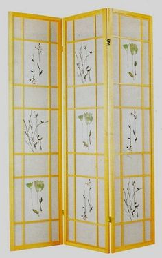 Natural finsh 3 panel room divider screen with floral design