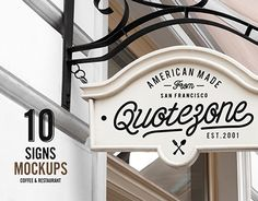 Restaurant & Coffee Shop Signs Mockup based on professional photos. 10 different photos with 10 different vintage filters. Easy to use with smart objects. Just open the psd file and place your design on the sign. Help file included. Free font release comi…