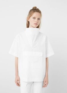 Premium - poplin pocket blouse - Shirts for Women Minimal Outfit, Minimal Fashion, Fashion Details, Fashion Design, White Shirts, White Women, Shirt Blouses, Blouses For Women, Vintage Outfits