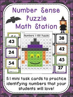 Halloween Number Sense Math Station that will help build number sense in a fun way! Great way to keep kids quiet and engaged while you pull math groups!