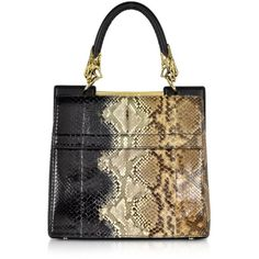 Roberto Cavalli Small Black and Sand Python Leather Top Handle Bag ($3,850) ❤ liked on Polyvore featuring bags, handbags, black, black leather handbags, snakeskin handbag, python leather handbag, structured handbag and black leather purse