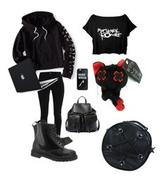 """""""emo?"""" by natalielol ❤ liked on Polyvore featuring Aéropostale, Dr. Martens and Steve Madden"""