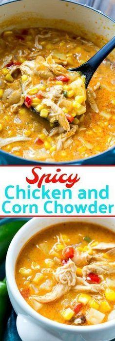 Spicy Chicken and Corn Chowder #chickenrecipeshealthyspicy