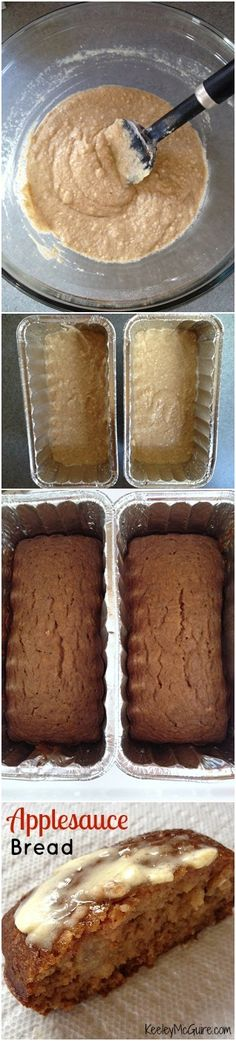 Applesauce Bread 12/16/13- made this today, it was super quick to make & very tasty. I didn't wait long enough for it to cool before moving it to a wire rack though, so I lost the bottom :-), otherwise it was just what I excepted.