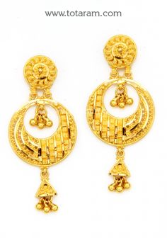 Chandbali Earrings - 22K Gold Drop Earrings: Totaram Jewelers: Buy Indian Gold jewelry & 18K Diamond jewelry