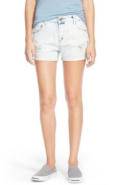 Free shipping and returns on Hart Denim 'Navi' Cuffed Destroyed Jean Shorts at Nordstrom.com. Thin rolled cuffs neaten up bleached jean shorts styled with destroyed patches at the front legs.