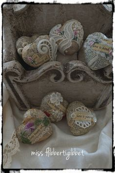 Little Faux Paper Mache Hearts