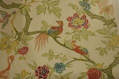 this is a great way to introduce color into your house w/out being over the top! would make beautiful draperies, club chair, ottoman, or bench at the foot of your bed. schumacher's arbre chinois in meadow.  thedeignersattic.com