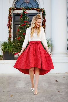 jacket, red midi skirt, black heels @roressclothes closet ideas ...